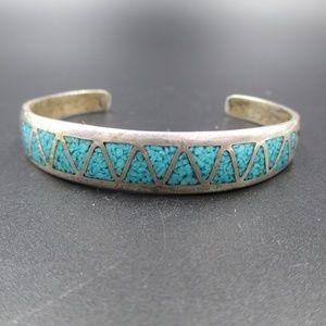 Vintage Rustic Turquoise Inlay Cuff Bracelet